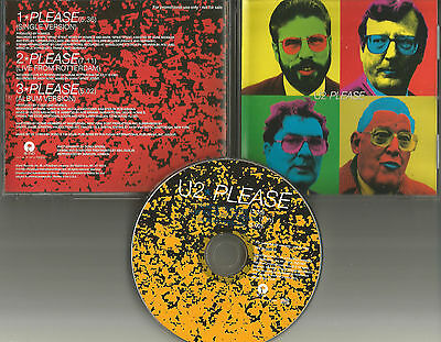 U2 Please 3TRX W/  RARE LIVE TRK & Single Version PROMO DJ CD Single 1997 USA • 34.99$