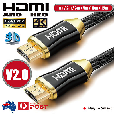 AU9.95 • Buy Premium HDMI Cable V2.0 4K Ultra HD 3D High Speed Ethernet 1m 2m 3m 5m 10m 15m