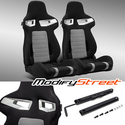 $306.99 • Buy 2 X JDM BLACK/GREY PINEAPPLE SEAT FABRIC LEFT/RIGHT RACING BUCKET SEATS + SLIDER