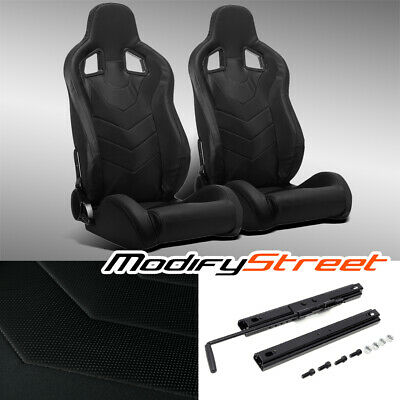 $308.99 • Buy 2 X BLACK PVC LEATHER LEFT/RIGHT RECLINABLE SPORT RACING BUCKET SEATS + SLIDER