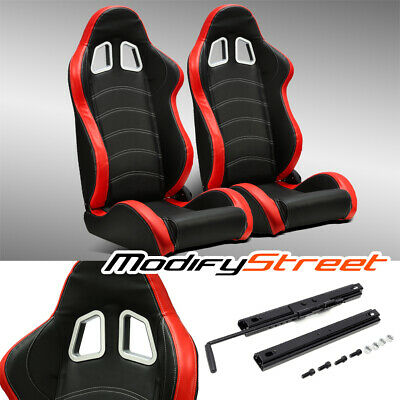 $292.99 • Buy 2 X BLACK/RED PVC LEATHER/WHITE STITCH LEFT/RIGHT RACING BUCKET SEATS + SLIDER