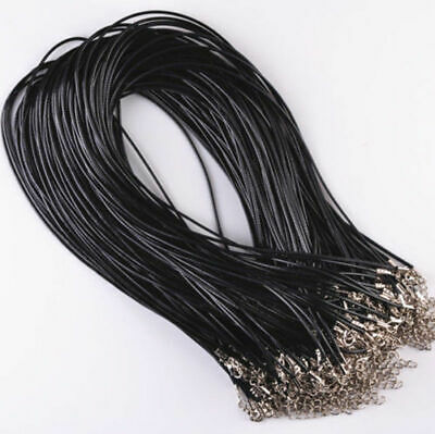 $ CDN0.99 • Buy 10X Lots PU Leather Cord Chain Necklace With Lobster Clasp Jewelry Finding Black