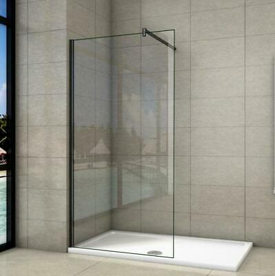 £85.24 • Buy Walk In Wet Room Black Shower Enclosure Screen Cubicle Glass Panel & Tray