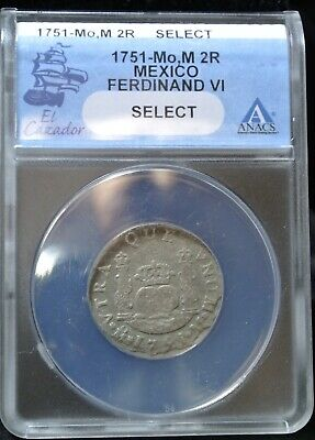$ CDN263.63 • Buy 1751 MoM MEXICO (Colonial) 2 REALES - Ferdinand VI *SELECT* - EL CAZADOR - WRECK