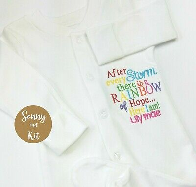 Personalised Rainbow Baby Sleepsuit, Embroidered Gift, IVF, After Every Storm • 9.99£