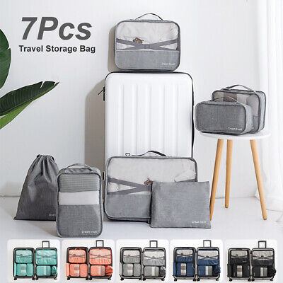 AU21.99 • Buy 7Pcs Packing Cubes Travel Pouches Luggage Organiser Clothes Suitcase Storage Bag