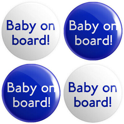 £2.49 • Buy 4 X Baby On Board BUTTON PIN BADGES 25mm 1 INCH Pregnant Novelty Mother V2