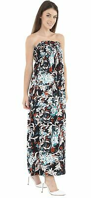 Womens Strapless Floral Gather Sheering Boobtube Bandeau Maxi Dress 8-22 • 5.99£