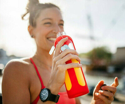 GLASS Drinking Water Bottle 500ml Drink Sports Cycling Gym Adults Juice BPA Free • 6.99£
