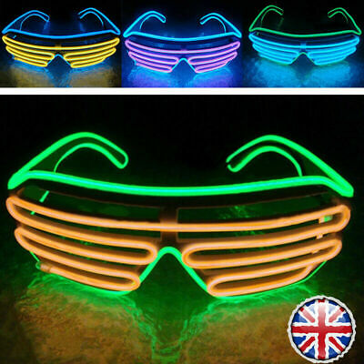 Neon LED Light Up Shutter EL Wire Glasses Glow Frame Dance Party Nightclub NEW • 4.99£