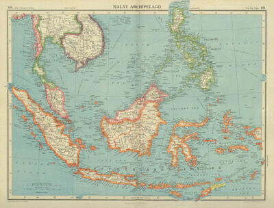 MALAY ARCHIPELAGO Dutch East Indies Indonesia Philippines Indochina 1947 Map • 29.99£