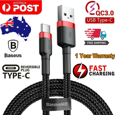 AU8.95 • Buy Genuine BASEUS USB TYPE-C Fast Charge Charging Data Sync Cable Cord 0.5/1M/2M/3M