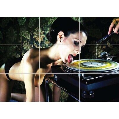 Technics DJ Girl Naked Nude Giant Wall Mural Art Poster Print 47x33 Inches • 12.99£