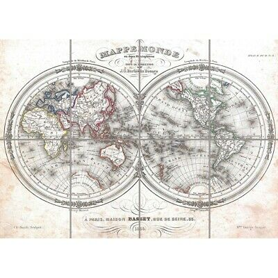 1848 Barbie Du Bocage Map The World In Hemispheres1848 Picture Print Poster • 12.99£