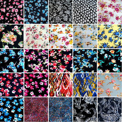 £5 • Buy 100% Viscose Fabric Summer Dress Floral Flower & Paisley Floral Roses 140cm Wide