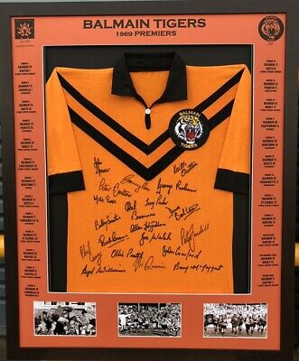 AU550 • Buy Blazed In Glory - 1969 Balmain Tigers Premiers- NRL Signed & Framed Jersey