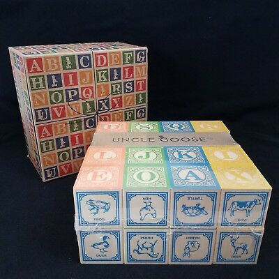 $39.95 • Buy Sealed Uncle Goose 28 Wood Embossed Classic ABC Blocks Made In USA