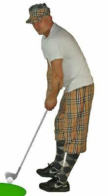 Unisex L/XL Golfing Plus Four Pub Golf Tartan Trousers Sports Fancy Dress Pants • 12.95£