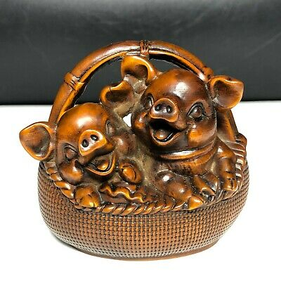 Japanese Netsuke Old Vintage Boxwood Collectible Basket & Pair Happy Pigs Statue • 36.99£