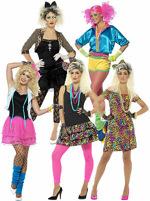 Ladies 80s Fancy Dress Costume Party Animal Neon Disco Eighties Womens Outfit • 11£