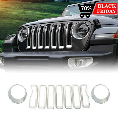 $37.02 • Buy For Jeep Wrangler JL Sports Grille Grill Insert+Headlight Turn Light Cover Trim