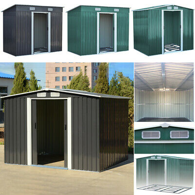 4*6, 4*8, 6*8, 8*8, 10*8 Metal Toolshed Garden Shed Outdoor Storage W/ Free Base • 255.95£