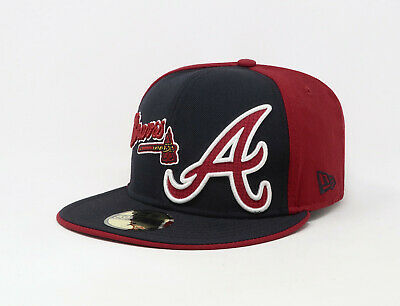 big sale 5043e 49bcd New Era 59Fifty Hat Mens MLB Atlanta Braves Thermal Navy Blue Red Fitted Cap  • 23.00