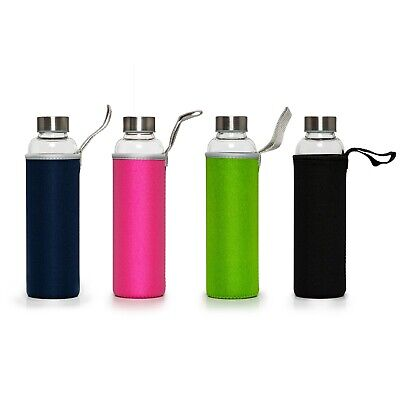 Sports Gym Reusable Glass Water Drinking Bottle Protection Sleeve BPA Free • 8£