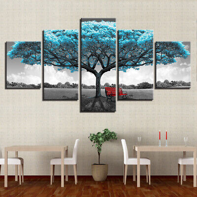 Big Blue Tree Red Chair 5 Panel Canvas Wall Art Home Decor Print Painting • 57.02£