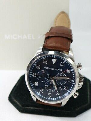 a788f7fada92 Michael Kors Men's Chronograph Gage Brown Leather Strap Watch 45mm MK8362  $250 • 48.10$