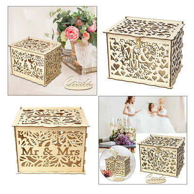 Wedding Card Post Box Wooden Gift Greeting Card Letter Collection Box Lockable • 10.95£
