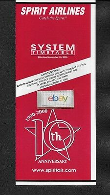 $4.99 • Buy Spirit Airlines System Timetable 11-10-2000  10th Anniversary  Catch The Spirit