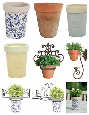 £16.91 • Buy Terracotta Blue Cream Planter With Or Without Wall Bracket Holder