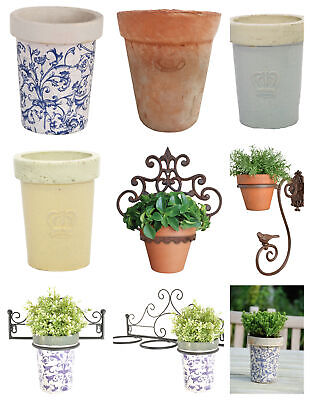 Terracotta Blue Cream Planter With Or Without Wall Bracket Holder • 11.79£