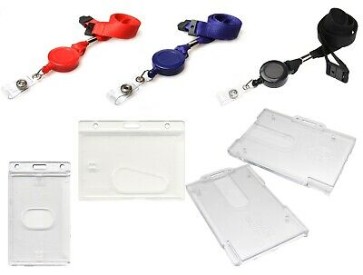Lanyard Neck Strap With Retractable Reel And ID Card Pass Badge Holder Enclosed • 2.99£