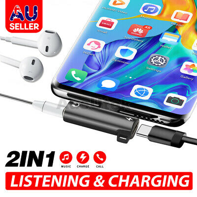 AU6.75 • Buy 2in1 USB C Type-C To 3.5mm Headphone Jack AUX & Sync Data & Charge Cable Adapter