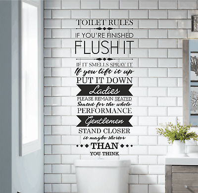 Funny Washroom Toilet Rules Quote Wall ART Stickers Bathroom Decals Home Decor • 6.99£