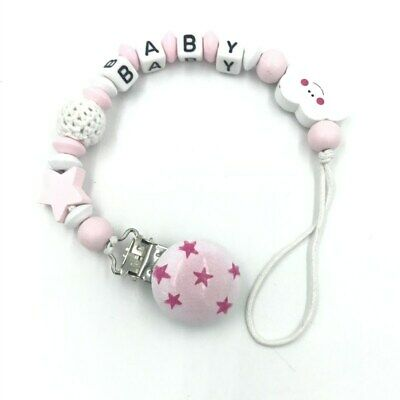 Personalised Name Wooden Baby Dummy Clip Crochet Beads Star Pacifier Clip • 2.38£