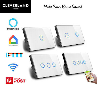 AU52.50 • Buy AU Approved Smart Wifi Touch Light Switch 1/2/3/4 Glass Panel Google Alexa APP