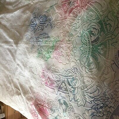 """French Lace Effect Tablecloth 59.5"""" Wide By 97"""" Long Rectangular White • 8.99£"""