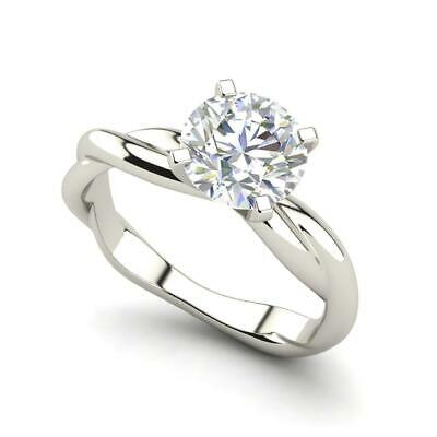 $1716 • Buy Twist Solitaire 0.5 Carat VVS2/F Round Cut Diamond Engagement Ring White Gold