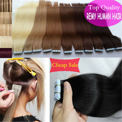 30-100G Remy Tape In Real Human Hair Extensions Russian 16 -24  Ombre Thick • 10.26£