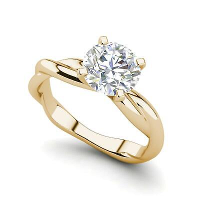 $1716 • Buy Twist Solitaire 0.5 Carat VVS2/F Round Cut Diamond Engagement Ring Yellow Gold