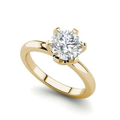 $1250.70 • Buy Solitaire 0.5 Carat VS1/D Round Cut Diamond Engagement Ring Yellow Gold