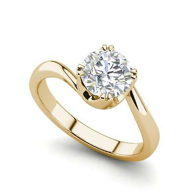 $2266 • Buy Twist Solitaire 0.5 Carat VVS1/D Round Cut Diamond Engagement Ring Yellow Gold