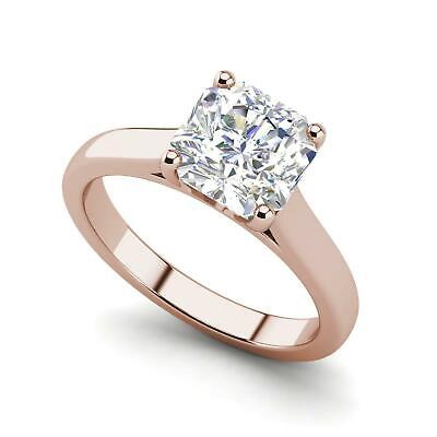 $983.40 • Buy Solitaire 0.5 Carat VS2/D Cushion Cut Diamond Engagement Ring Rose Gold