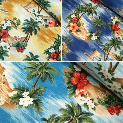 100% Cotton Poplin Fabric Rose & Hubble Hawaiian Island Tropical Floral Flower • 7.40£