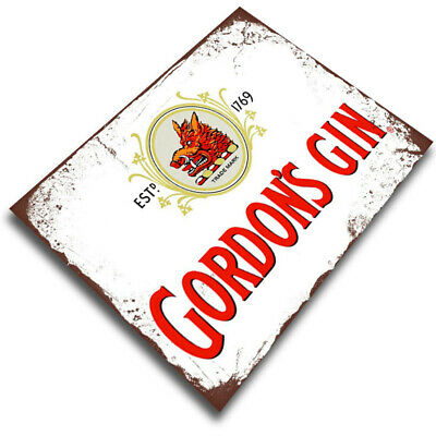 Gordon's GIN METAL WALL PLAQUE Sign Kitchen Bar Cafe Decor Wall Pub • 4.99£