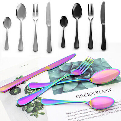 Creative Stainless Steel Knife Fork Spoon Colourful Iridescent Cutlery Sets New • 8.95£