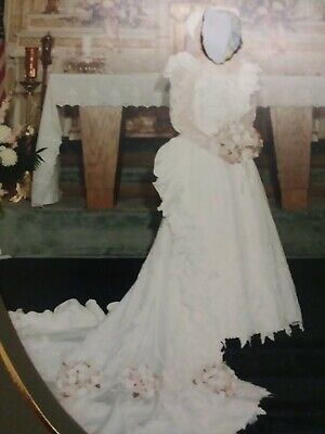 AU272.57 • Buy Vintage 80's Wedding Dress With Hat And Veil